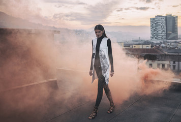 Fashion editorial on the rooftop