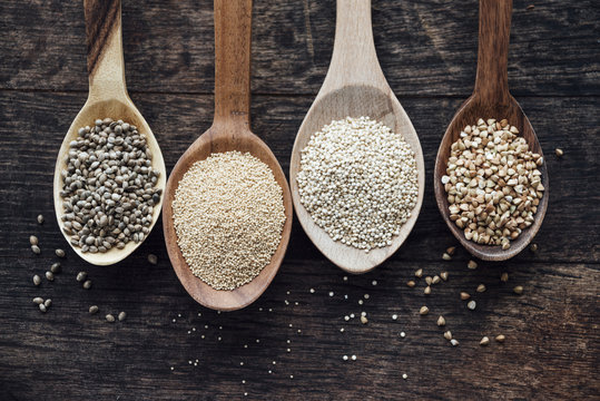 Food: Pseudocereals in spoons, hemp, amaranth, quinoa, buckwheat