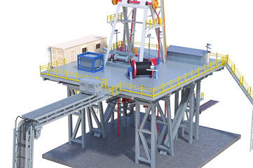 Land rig drilling industrial oil platform, close view. 3D rendering