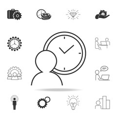 Person waiting sign icon. Detailed set of finance, banking and profit element icons. Premium quality graphic design. One of the collection icons for websites, web design