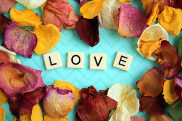 Love spelled out in letter tiles on a pastel blue background with colorful rose petals surrounding the word