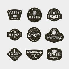 set of vintage brewery logos. vector illustration