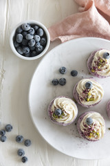 Vegan mini blueberry cheesecakes