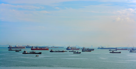 World's busiest shipping lane - Straits of Malacca and Singapore.
