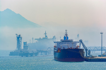 Crude oil tanker under cargo operations