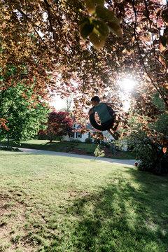 backyard tire swing & kids