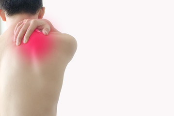 Men have neck pain and shoulder pain, white background. Health concept