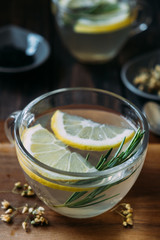 Tea with lemon and rosemary