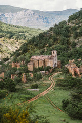 Abandoned village of Iscles, Huesca, Spain.
