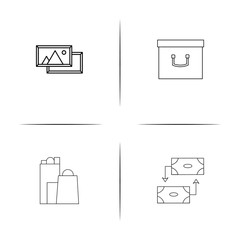 Interface simple linear icon set.Simple outline icons