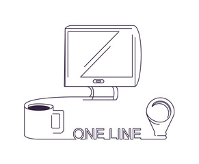 One line design of computer and coffee mug over white background, vector illustration