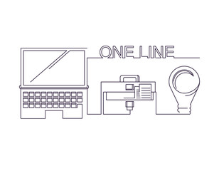 One line design of computer, briefcase and bulb icon over white background, vector illustration