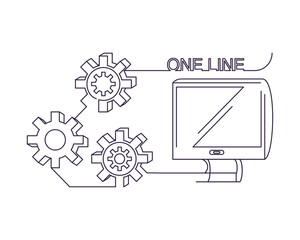 One line design of computer and gear wheels over white background, vector illustration