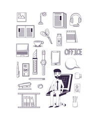 businessman sitting on desk chair and Office supplies around over white   background, sketch design. vector illustration