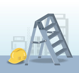Construction design with ladder and safety helmet over blue background, colorful design vector illustration
