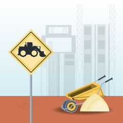 construction sign with truck icon and wheelbarrow with pile of sand over under construction background, vector illustration