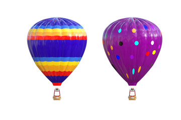 Hot air balloon isolated on white. 3d render.