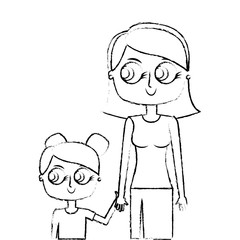 mother holding hand with her daughter portrait vector illustration green image sketch image