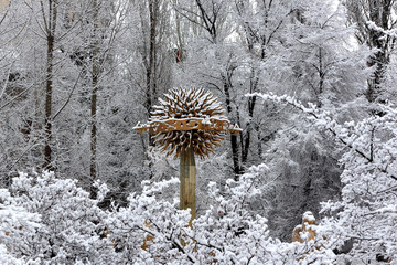 Snow cityscapes in Almaty city