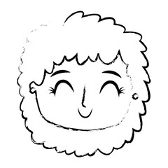 beautiful young teenager happy face girl smiling vector illustration sketch image