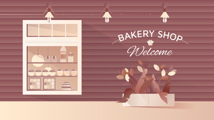 Small bakery shop facade, stylish exterior storefront design with copy space background, brown tone