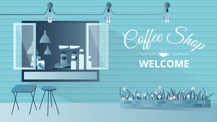 Small coffee shop facade, stylish exterior storefront design with copy space background, blue tone