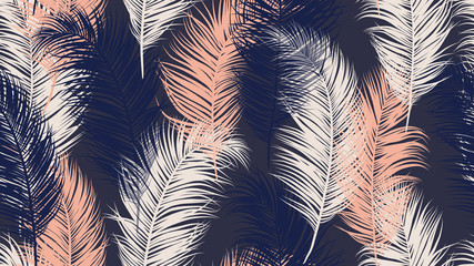 Seamless pattern, tropical palm leaves on dark purple background, blue tone