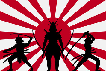 silhouette samurai on rising sun japan flag