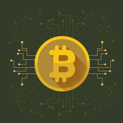 Bitcoin digital currency coin golden icon. vector illustration