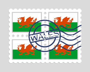 Wales flag on postage stamps