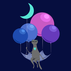 the cat is flying on balloons in the night