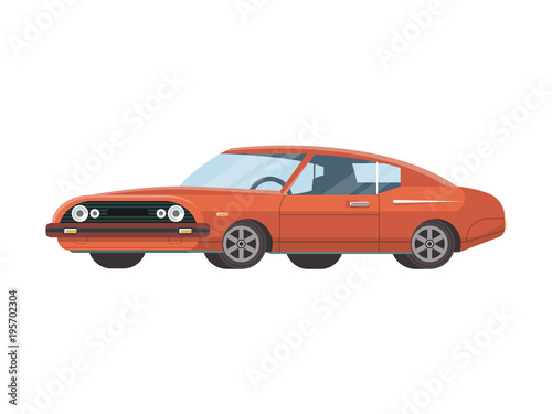Cool Stylish Retro Red Colored Muscle Car On White Background