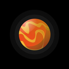 Flat style of round hot planet in space on black.