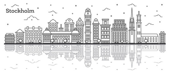 Outline Stockholm Sweden City Skyline with Historic Buildings and Reflections Isolated on White.