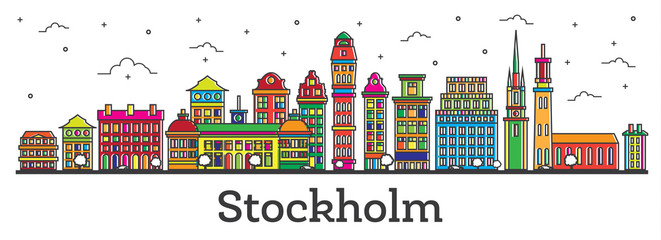 Outline Stockholm Sweden City Skyline with Color Buildings Isolated on White.