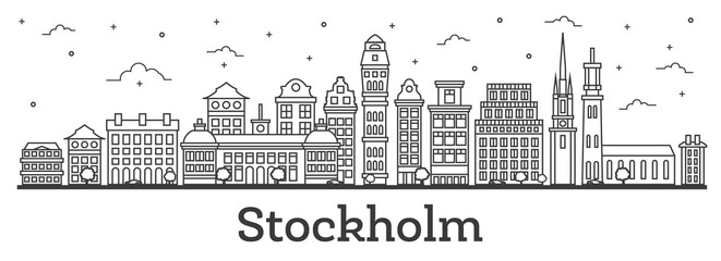 Outline Stockholm Sweden City Skyline with Historic Buildings Isolated on White.