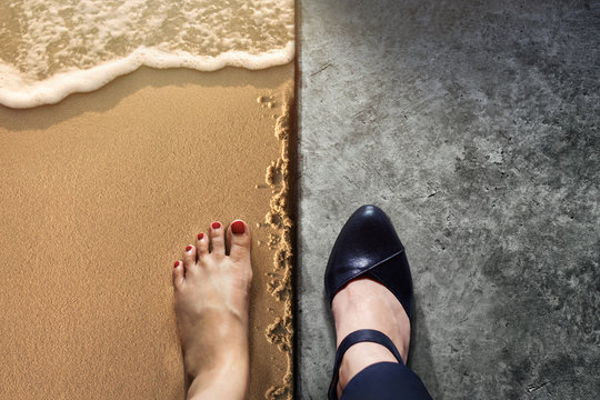 Life Balance concept for Work and Travel present in Top view position by half of Business Working Woman Shoes on Cement Floor and Female's Barefoot on Sand Beach