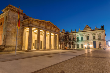 The Neue Wache and the German Historical Museum in Berlin at night