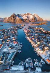 Henningsvaer town in the Norway. Beautiful natural landscape from air