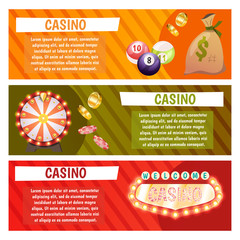 Vector flat banners with casino icons. Big win, slots, roulette.