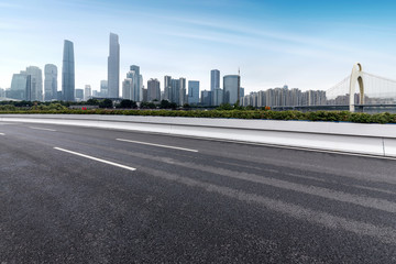 Highway and city building in Guangzhou, China