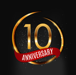 Template Gold Logo 10 Years Anniversary with Red Ribbon Vector Illustration