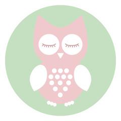 Pink baby owl, sleep, happy. Vector icon owl.