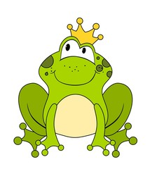 Cute cartoon frog princess or prince isolated on white