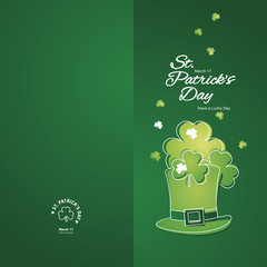Saint Patricks Day hat white line art green two fold greeting card
