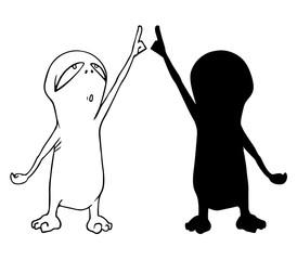 funny alien illustration