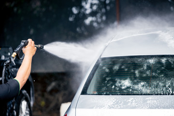 Cleaning car care with High pressure water cleaner