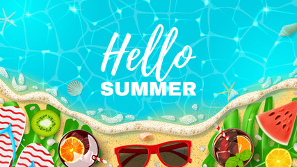 Beautiful Web Banner With Inscription Hello Summer. Top View On Summer  Decoration With Realistic Objects