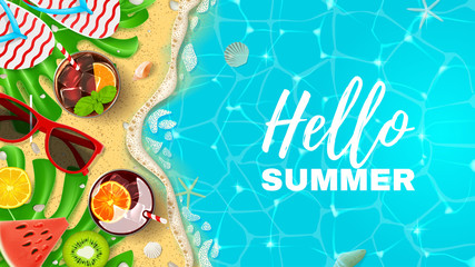 Beautiful banner with inscription Hello Summer. Top view on Summer decoration with realistic objects on beach. Vector illustration. Concept of seasonal vacation in tropical country.