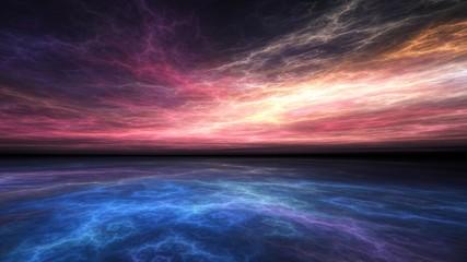 Fractal horizon, hazy electric sunset over a vivid blue sea